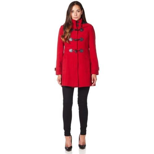 Vêtements Femme Manteaux De La Creme Manteau d'hiver à capuche en laine et cachemire Red