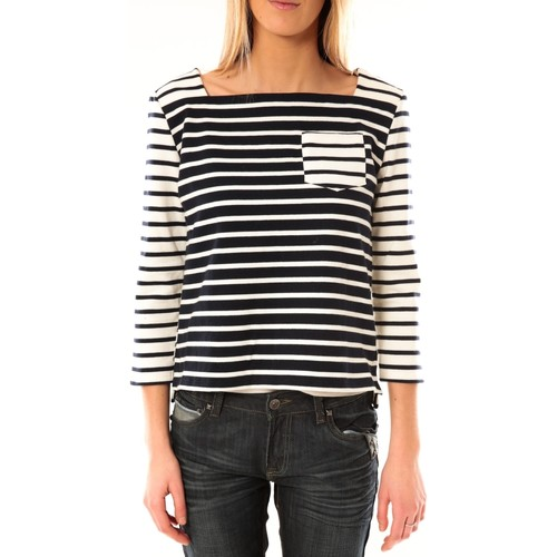 Vêtements Femme T-shirts manches longues Petit Bateau Marinière 3434049220 Bleu/Blanc Bleu