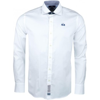 Vêtements Homme Chemises manches longues La Martina Chemise  blanche Polo Universiy slim fit pour homme Blanc