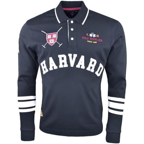 Vêtements Homme Polos manches longues La Martina Polo manches longues  noir Harvard pour homme Noir