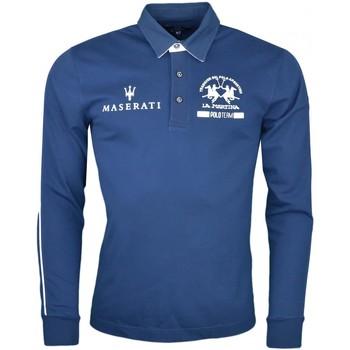 Vêtements Homme Polos manches longues La Martina Polo manches longues  bleu marine Maserati pour homme Bleu