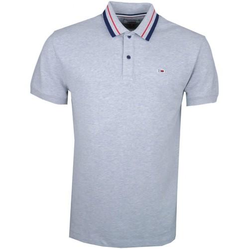 Vêtements Homme Polos manches courtes Tommy Jeans Polo  gris lisérés rouge et bleu marine pour homme Gris