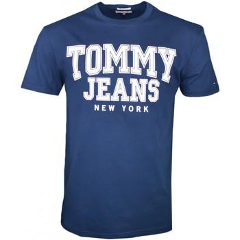 Vêtements Homme T-shirts manches courtes Tommy Jeans T-shirt col rond  bleu marine régular pour homme Bleu