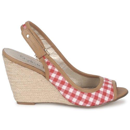 Stylistclick Sandales Chaussures pieds Femme JudeNaturel Ines Nu Et Rouge QrdCBexoW