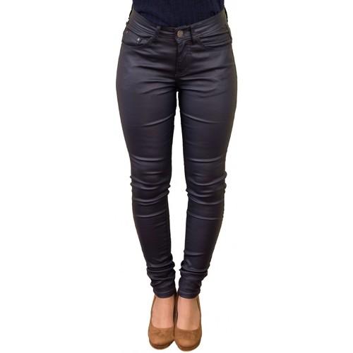 Vêtements Femme Jeans Primtex Jean  enduit coupe slim taille haute effet synthétique sky Bleu marine