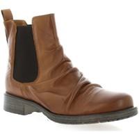 Chaussures Femme Bottines Creator Creat Boots cuir Cognac