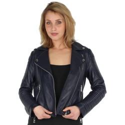 Vêtements Femme Blousons Giovanni Blouson  42960 cuir ref_gvi42960 Marine bleu
