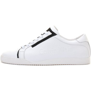 Chaussures Homme Baskets basses Calvin Klein Jeans Sneakers Cuir Blanc Noir Blanc