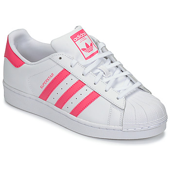 7dbe5f5675955 Chaussures Fille Baskets basses adidas Originals SUPERSTAR J Blanc / rose
