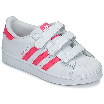 promo code bb1bf b5c28 Chaussures Fille Baskets basses adidas Originals SUPERSTAR FOUNDATIO Blanc    rose