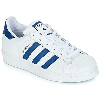 Chaussures Enfant Baskets basses adidas Originals SUPERSTAR J Blanc / bleu