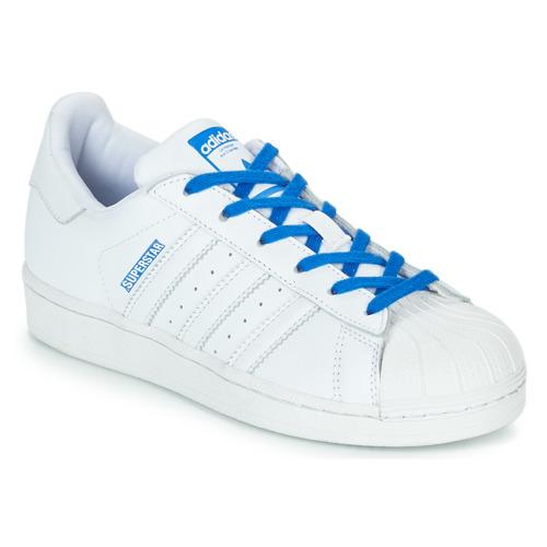 Chaussures Fille Baskets basses adidas Originals SUPERSTAR J Blanc / Bleu