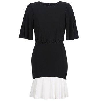 Vêtements Femme Robes courtes Lauren Ralph Lauren ELBOW SLEEVE DAY DRESS Noir / Blanc