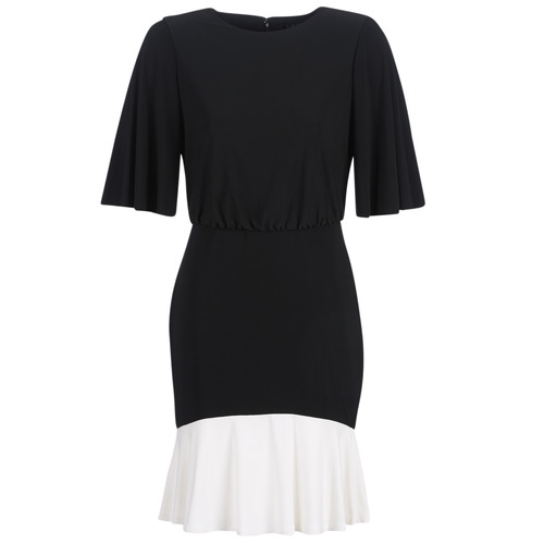 Vêtements Femme Robes courtes Lauren Ralph Lauren ELBOW SLEEVE DAY DRESS Noir / Blanc