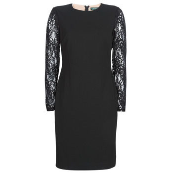 Vêtements Femme Robes courtes Lauren Ralph Lauren LACE PANEL JERSEY DRESS Noir