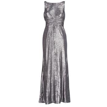 Vêtements Femme Robes longues Button-trim Crepe Dress SLEEVELESS EVENING DRESS GUNMETAL Gris Argenté