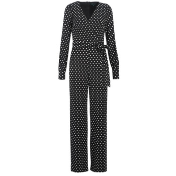 Vêtements Femme Combinaisons / Salopettes Lauren Ralph Lauren POLKA DOT WIDE LEG JUMPSUIT Noir / Blanc
