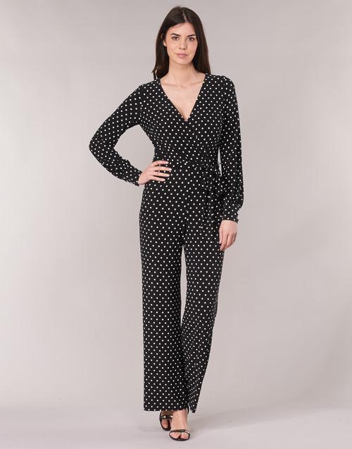 Vêtements Femme Combinaisons / Salopettes Lauren Ralph Lauren POLKA DOT WIDE LEG JUMPSUIT Noir / Blanc