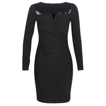 Vêtements Femme Robes courtes Lauren Ralph Lauren SEQUINED YOKE JERSEY DRESS Noir
