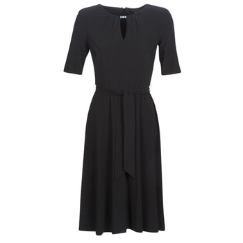 Vêtements Femme Robes courtes Button-trim Crepe Dress 3/4 SLEEVE  JERSEY DAY DRESS Noir