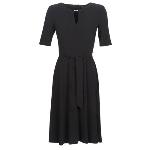 Vêtements Femme Robes courtes Lauren Ralph Lauren 3/4 SLEEVE  JERSEY DAY DRESS Noir