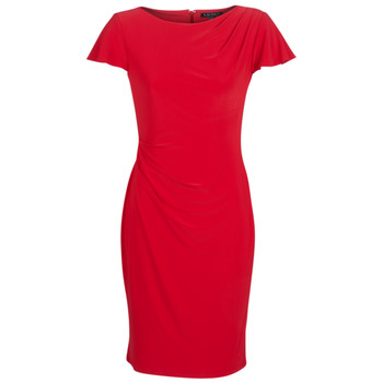 Vêtements Femme Robes courtes Lauren Ralph Lauren SHORT SLEEVE JERSEY DAY DRESS Rouge