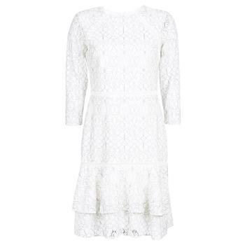 Vêtements Femme Robes courtes Button-trim Crepe Dress LONG SLEEVE-LACE DAY DRESS Blanc / Noir