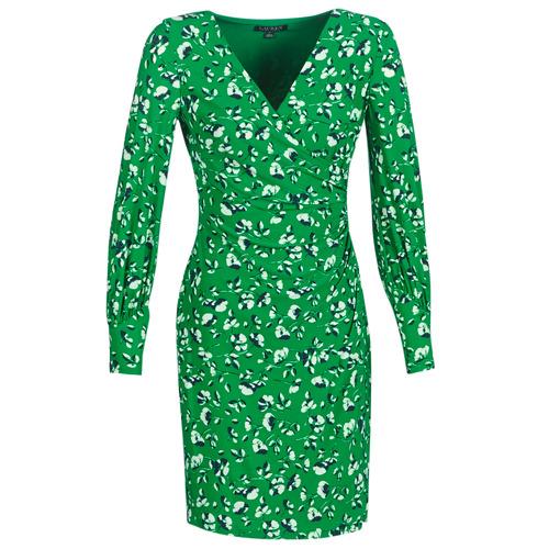 Vêtements Femme Robes courtes Lauren Ralph Lauren FLORAL PRINT-LONG SLEEVE-JERSEY DAY DRESS Vert