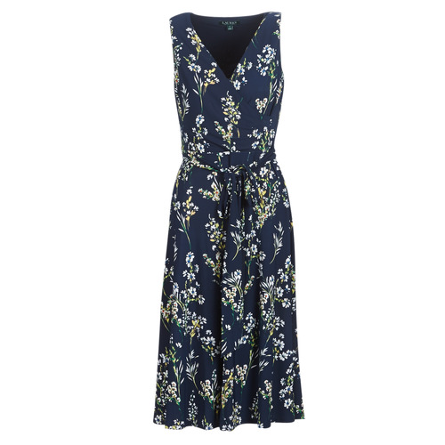 Print Marine Femme day Ralph Floral Dress sleeveless Robes Longues Lauren 8nwPk0O
