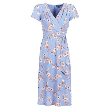 Vêtements Femme Robes longues Lauren Ralph Lauren FLORAL PRINT- SHORT SLEEVE-DAY DRESS Bleu