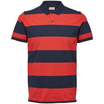 Vêtements Homme Polos manches courtes Selected Polo manches courtes à rayures ARO H Rouge Rouge