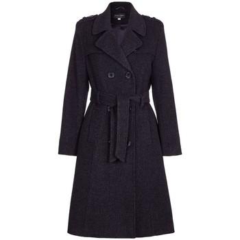 Vêtements Femme Trenchs De La Creme Manteau d'hiver en laine avec longue tranchée Black