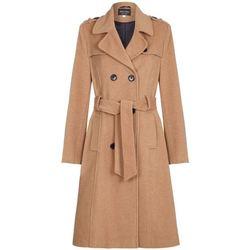 Vêtements Femme Trenchs De La Creme Trench-coat militaire long en laine et cachemire Beige