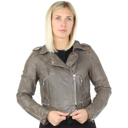 Vêtements Femme Blousons Oakwood Blouson style perfecto  Kyoto en cuir ref_44595 Gris Gris