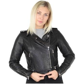 Vêtements Femme Blousons Oakwood Blouson style perfecto  Kyoto en cuir ref_44595 Noir noir
