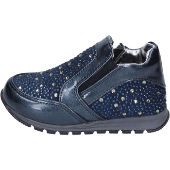 Chaussures Fille Slip ons Laura Biagiotti chaussures fille  sneakers bleu cuir strass BT306 bleu