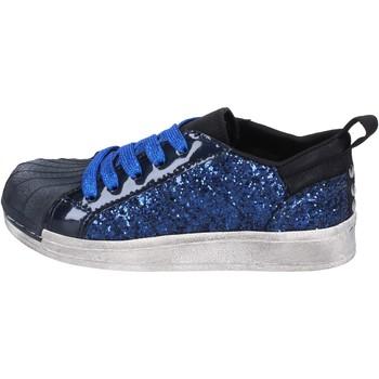Chaussures Fille Baskets basses Holalà sneakers bleu glitter cuir verni BT330 bleu
