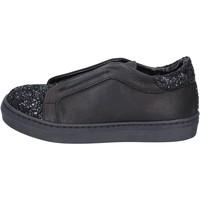Chaussures Fille Slip ons Holalà sneakers noir cuir glitter BT357 noir