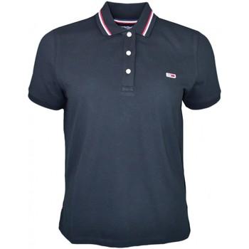 Vêtements Femme Polos manches courtes Tommy Jeans Polo  noir lisérés rouge et blanc pour femme Noir