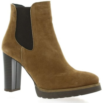 Chaussures Femme Bottines Pao Boots cuir velours Camel