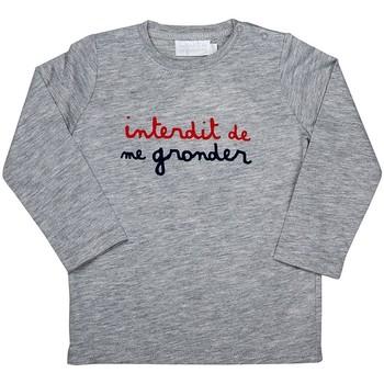 Vêtements Garçon T-shirts manches longues Interdit De Me Gronder INITIAL Gris