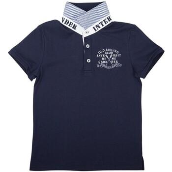Vêtements Garçon Polos manches courtes Interdit De Me Gronder NAVY Bleu marine