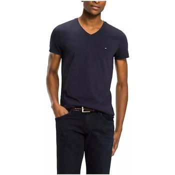 Vêtements Homme T-shirts manches courtes Tommy Hilfiger Tee Shirt Ajusté Manches Courtes Col V Blanc