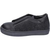 Chaussures Fille Slip ons Holalà chaussures fille  sneakers noir cuir daim BT374 noir