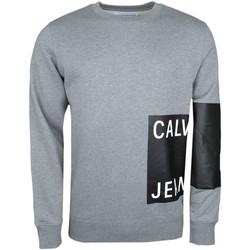 Vêtements Homme Sweats Calvin Klein Jeans Sweat col rond  gris flocage carré noir pour homme Gris