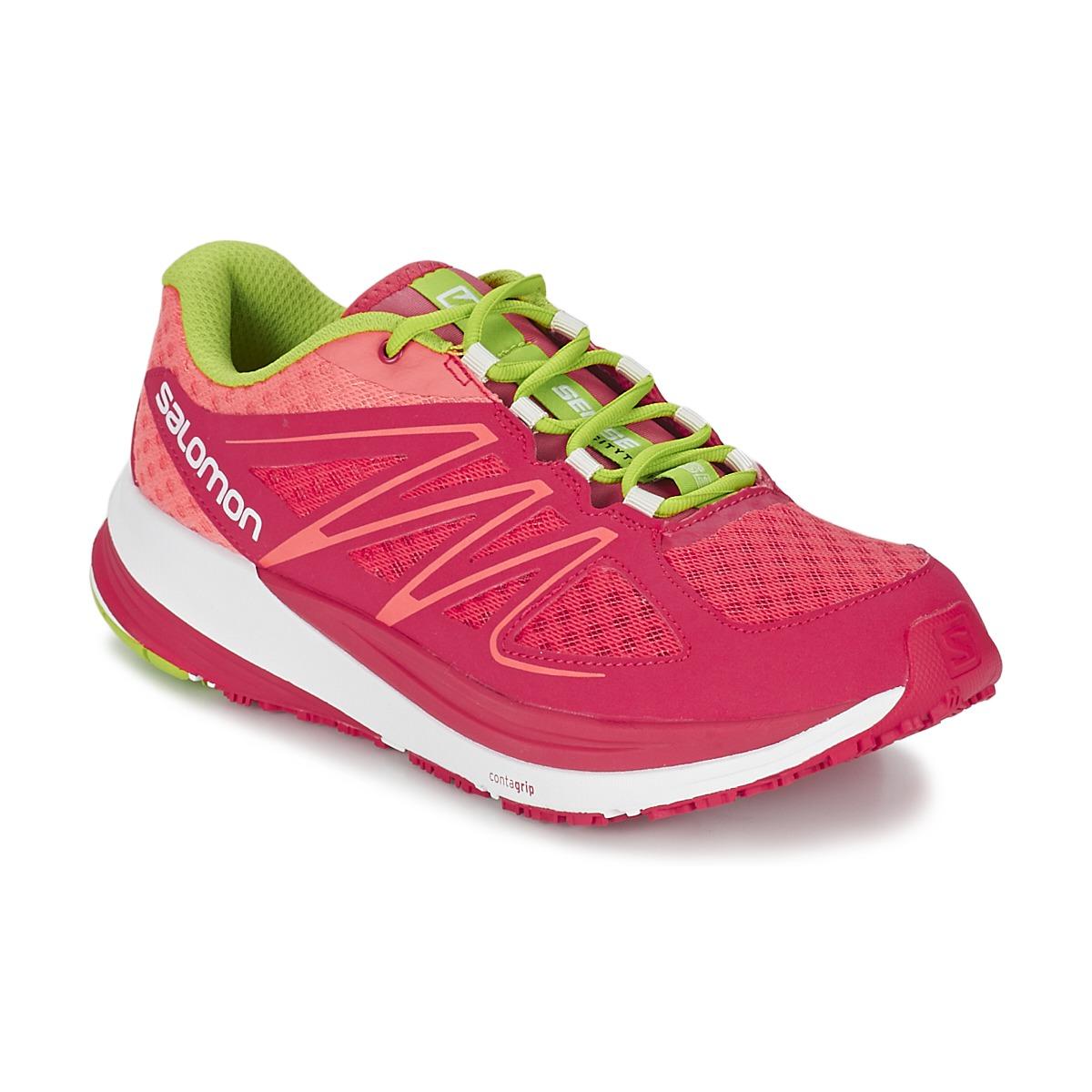Chaussures-de-running Salomon SENSE PULSE WOMAN Rose / Orange / Vert