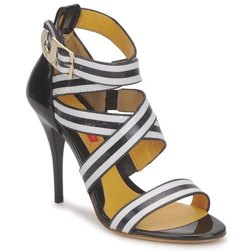 Chaussures Femme Sandales et Nu-pieds Charles Jourdan BARBARA Noir / Blanc