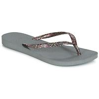Chaussures Femme Tongs Havaianas SLIM LOGO METALLIC Gris