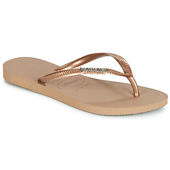 d3507b42bfd Chaussures Femme Tongs Havaianas SLIM LOGO METALLIC Rose Gold