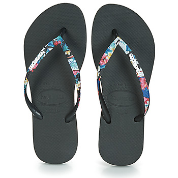 Chaussures Femme Tongs Havaianas SLIM STRAPPED Noir
